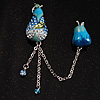 Blue Crystal Enamel Pear Brooch