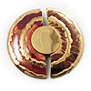 &#039;&#039;Split Disk&#039;&#039; Ethnic Brooch (Gold&amp;Red)