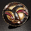 Three-Colour Shield-Shaped Ethnic Brooch (Gold, Red&amp;Brown)