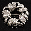 Rhodium Plated Crystal Wreath Brooch