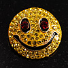 Round Yellow Crystal Smiling Face Brooch
