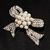 Crystal Faux Pearl Bow Brooch