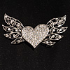 Heart &amp; Wings Clear Crystal Fashion Brooch