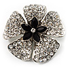5 Petal Crystal Flower Brooch (Black&Clear)