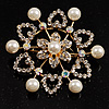 Gold Plated Faux Pearl Crystal Snowflake Brooch