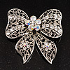 Large Crystal Filigree Bow Brooch