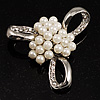 Fancy Simulated Pearl Bow Brooch