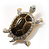 Fortunate Crystal Enamel Turtle Brooch (Gold&Olive)