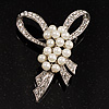 Contemporary Imitation Pearl Crystal Bow Brooch