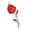 Red Crystal Calla Lily Brooch In Rhodium Plating