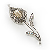 Clear Crystal Calla Lily Brooch
