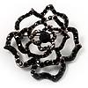 Stunning Jet Black Crystal Rose Brooch
