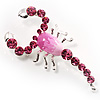 Large Pink Crystal Scorpion Brooch