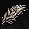 Stunning Large Crystal Leaf Brooch
