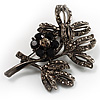 Black Crystal Floral Brooch