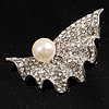 Crystal Shell Faux Pearl Fashion Brooch