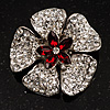 5 Petal Crystal Flower Brooch (Red&amp;Clear)
