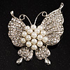 Exquisite Pearl Style Crystal Butterfly Brooch