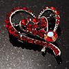 Dark Red Crystal Heart Brooch In Rhodium Plating - 40mm L
