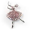 Pink Crystal Ballerina Brooch