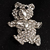 Running Teddy Bear Crystal Brooch