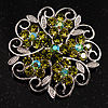 Green Crystal Filigree Floral Brooch