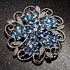 Sky Blue Crystal Filigree Floral Brooch