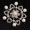 Rhodium Plated Faux Pearl Crystal Snowflake Brooch