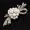 Snow White Imitation Pearl Bow Brooch