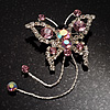 Pink Crystal Butterfly With Dangling Tail Brooch