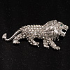 Clear Crystal Lion Brooch