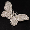 Gigantic Pave Swarovski Crystal Butterfly Brooch (Clear)