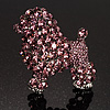 Gigantic Lilac Crystal Poodle Dog Brooch