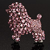 Gigantic Pink Crystal Poodle Dog Brooch