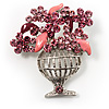 Pink Crystal Flower Basket Brooch