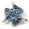 Dazzling Light Blue Crystal Floral Brooch