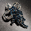 Navy Blue Crystal Grapes Brooch