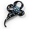 Black Tone Crystal Fancy Brooch (Violet Blue)