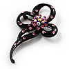 Black Tone Crystal Fancy Brooch (Pink)
