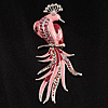 Gigantic Pink Enamel Peacock Fashion Brooch