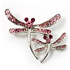 Fancy Pink Dragonfly Fashion Brooch