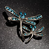 Fancy Blue Dragonfly Fashion Brooch