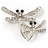Fancy Clear Crystal Dragonfly Fashion Brooch