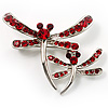 Fancy Red Dragonfly Fashion Brooch