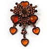 Grandma&#039;s Heirloom Charm Brooch (Amber&amp;Citrine)