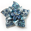 3D Enamel Crystal Flower Brooch (Blue&amp;Sky Blue)