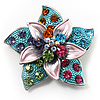 3D Enamel Crystal Flower Brooch (Multicoloured)