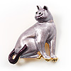 Purple Enamel Cat Brooch