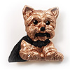'Sitting Dog' Enamel Fashion Brooch
