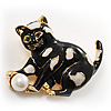 Black Enamel Cat&amp;Ball Brooch